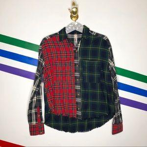 NEW Free people patchwork plaid raw hem shirt